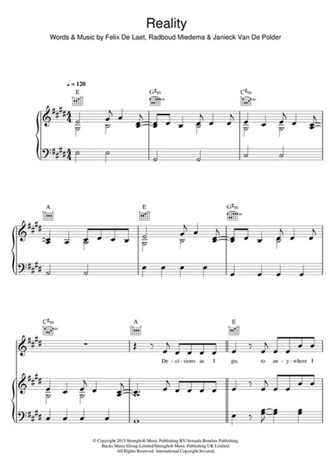 reality sheet music by lost frequencies piano vocal guitar right melody 122304