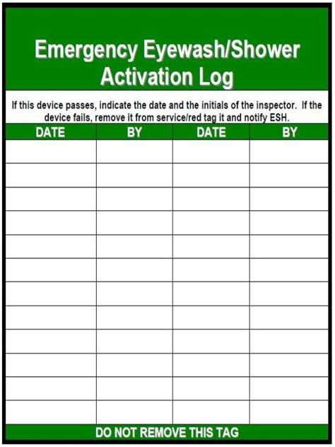 inspection sheet emergency eye wash or shower log sheet