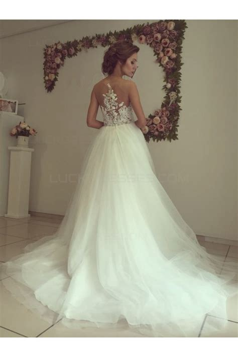 Lace Tulle Illusion Neckline Wedding Dresses Bridal Gowns ...