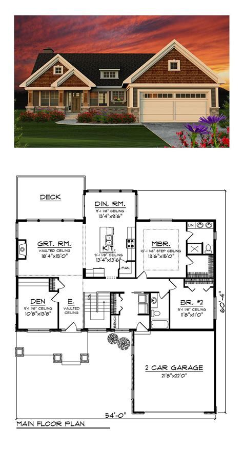 Craftsman House Plan 75202   Total Living Area: 1734 sq