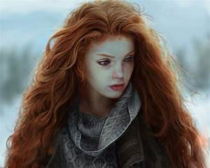 Pictures Redhead girl Beautiful Hair Girls Painting Art