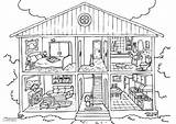Coloring Interior Pages Printable Rooms Colouring Inside Edupics Homes sketch template