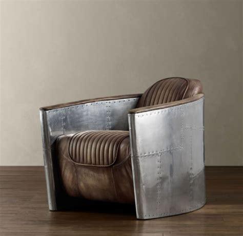 fauteuil aviateur vintage cuir et aluminum rivet 233