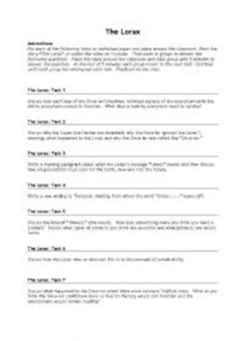 worksheets the lorax questions