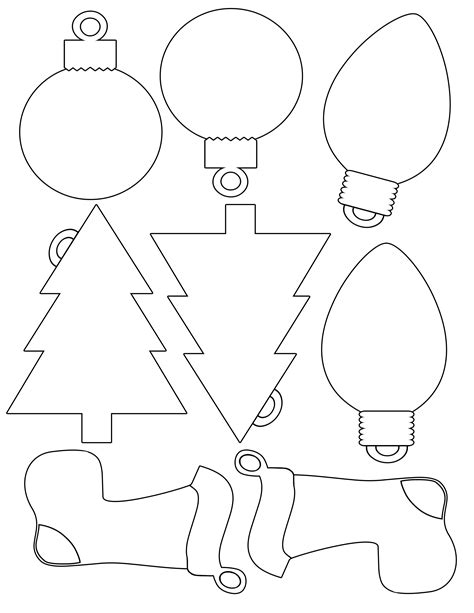 printable christmas ornaments cutouts printable envelope for shapes for gift tags color and print your own