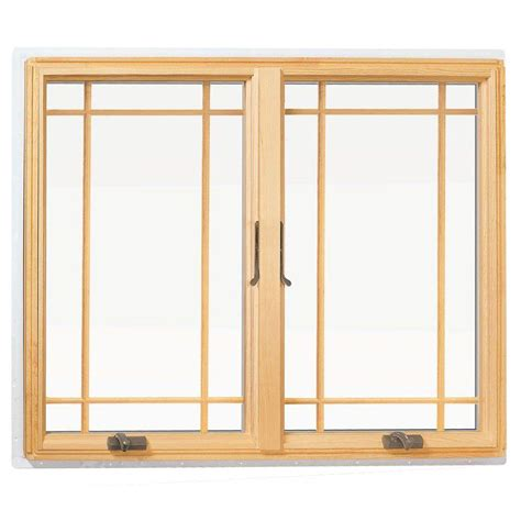 andersen       series casement wood window  white exterior  prairie grilles
