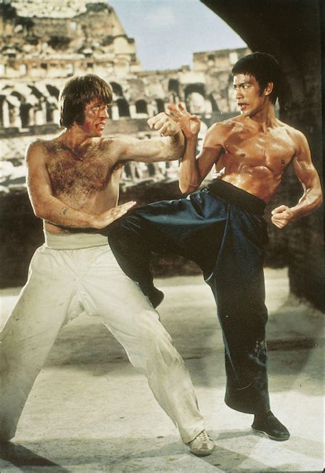 chuck norris and bruce lee fight bruce lee and chuck norris fight at the colosseum in the