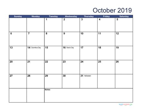 Free Download Printable October 2019 Calendar with ...