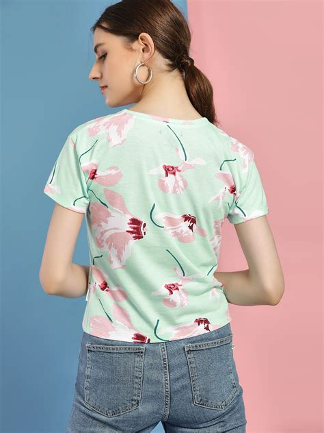 Buy Converse Green Floral Print Logo T-Shirt for Women Online in India