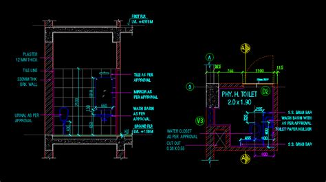 working drawing  handicap toilet dwg detail  autocad