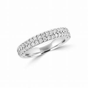 double row round diamond 18ct white gold wedding ring With 18ct gold wedding rings with diamonds