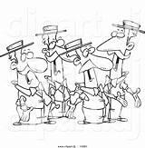 Cartoon Clipart Singing Quartet Coloring Outline Guys Dj Toonaday sketch template