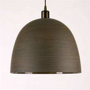 Brown wood effect large glass ceiling light shade for