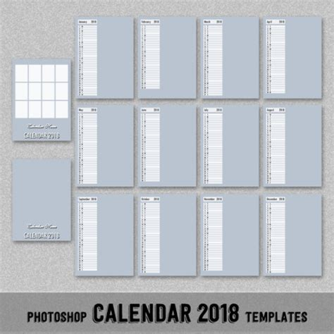 photoshop calendar template 2018 monthly calendar photoshop template 5x7 quot photoshop or pse digitalbazaar on artfire