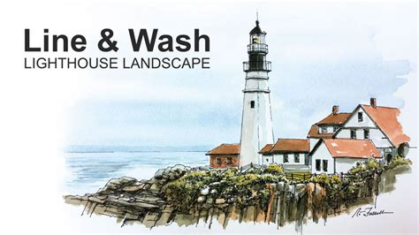 pen and ink with watercolor line and wash lighthouse