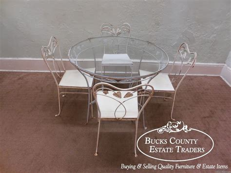 round glass breakfast table set vintage wrought iron round glass top patio table chair