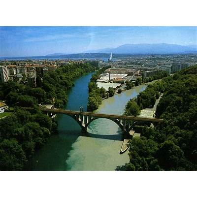 Confluence of Rhône and Arve. SwitzerlandFeel The Planet