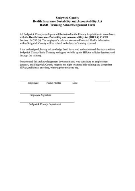 hipaa basic training acknowledgement form printable pdf