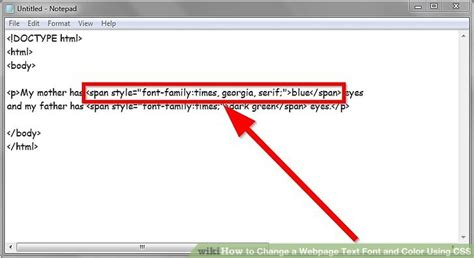 html font color tag how to change a webpage text font and color using css 4 steps