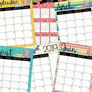 Calendrier Par Mois : calendrier 2018 2019 couleurs ~ Dallasstarsshop.com Idées de Décoration