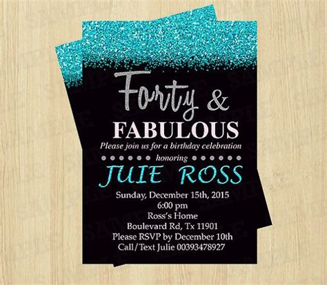 40th birthday invitation women Forty and Fabulous by