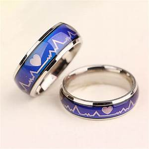 men women hearts mood ring temperature feeling changing With mood wedding rings