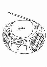 Cd Radio Player Coloring Technology Office Printable sketch template