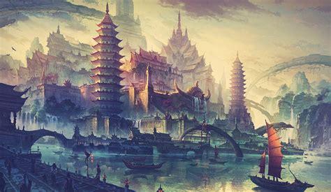 Asiatische Bilder Kunst by Wallpaper Temple Landscape Painting Illustration Sky