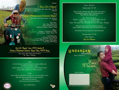 undangan pernikahan full color tema warna hijau alfi