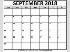 Printable September 2018 Calendar towncalendarscom