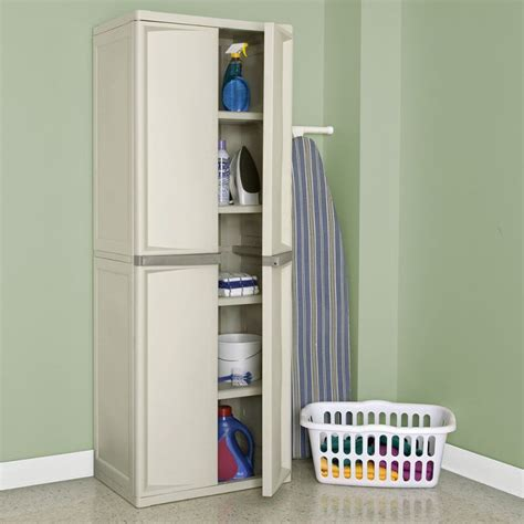 Sterilite 4 Shelf Utility Storage Cabinet Putty by Sterilite 01428501 Organizes The Utilities Neatly