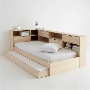 Lit Double Bois : lit avec tiroir rangements et sommiers yann lit avec ~ Premium-room.com Idées de Décoration