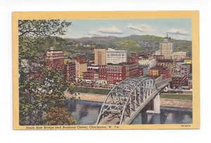 Linen postcard. South Side Bridge and Business Center ...