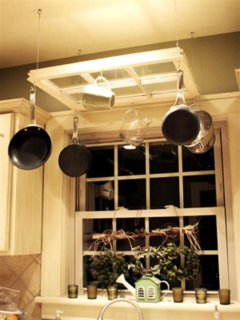 diy pot rack ideas a recycled window finds new purpose as a hanging pot rack while still