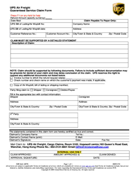 cargo claim form way bill by ups cargo company fill online printable