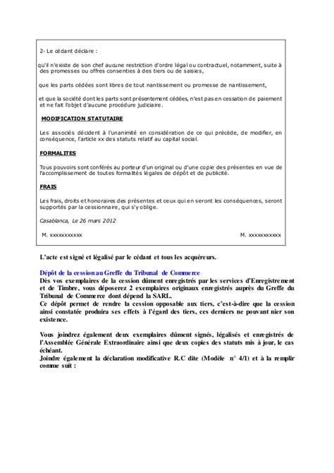 changement de si e social sci la cession de parts sociales en droit marocain