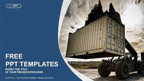 forklift handling  container box powerpoint templates