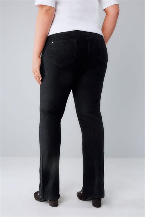 schwarze bootcut jeans mit  hosentaschen  grossen
