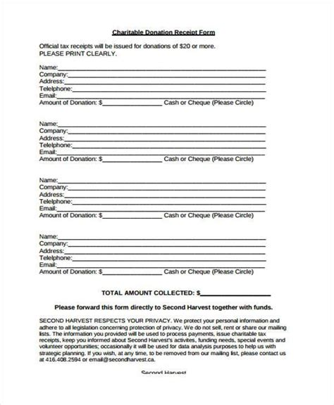 charitable donation receipt template receipt form in pdf
