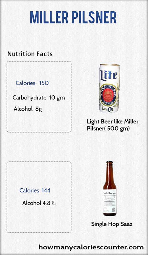 calories  miller pilsner   calories