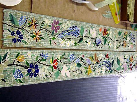 glass border tiles for kitchen mosaic border tiles in floral motif designer glass mosaics 6805