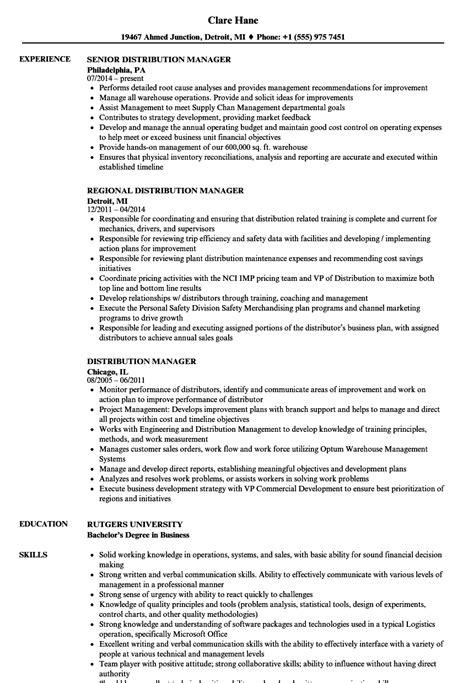 distribution manager resume sles velvet