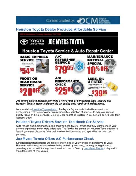 Toyota Houston Dealers by Houston Toyota Dealer Provides Affordable Service