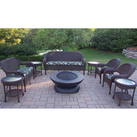 oakland living resin wicker 9 seating set with 42