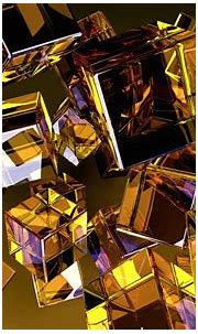 minimalism, Digital Art, Abstract, Geometry, Gold, Cube ...