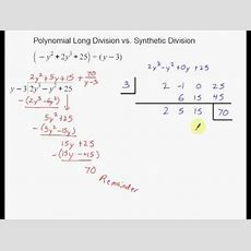 Polynomial Long Division Vs Synthetic Division Youtube
