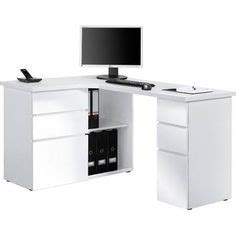 fabri wooden corner computer desk in white with black door