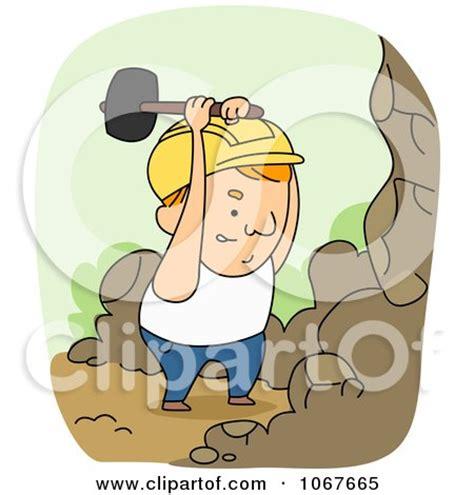 cartoon   hammer mascot holding  nail royalty