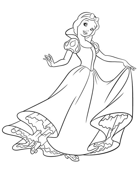 pretty snow white dancing coloring page   coloring pages