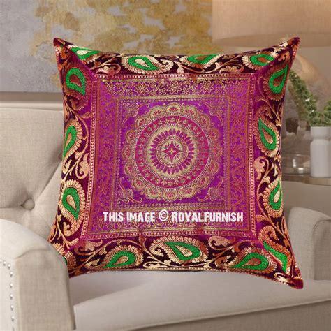 pink  green mixed central floral medallion silk pillow